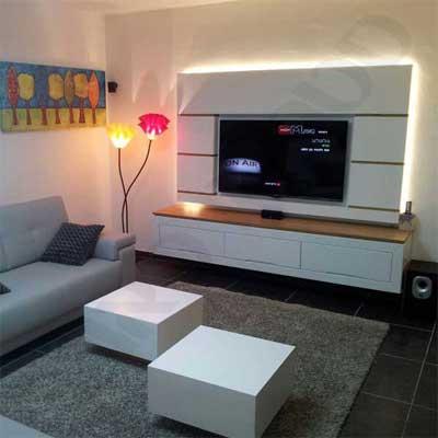 נישה לטלויזיה + מזנון לסלון תלוי + שולחן לסלון + תאורת LED